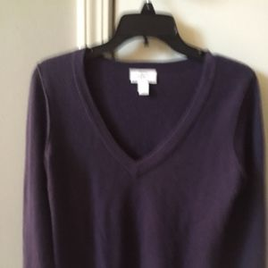 Deep Purple Cashmere Sweater Ann Taylor Sz M